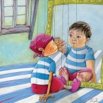 Pinocchio, little boy, string puppet, hands, doll, reflection, and mirror