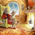 Mouse, fireplace, cozy, picture book, and winter