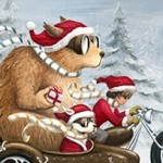 Motorcycle, girl, Dog, christmas, holidays, winter, street, and forrest