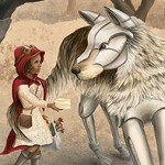 girl, children, wolf, Fairy Tale, Environment, Science Fiction, trees, Nature, landscape, and diversity