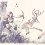 artemis, deer, forest, moon, and archery