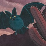 california, critters, bat, leaf nosed bat, night, Stars, desert, picture book, and illustration