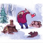 winter, lumberjack, and Snow