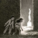 Labyrinth, Maze, girl, boy, Middle, grade, and statue
