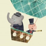 hot air balloon, Adventure, elephant, pig, and exploration