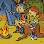 campfire, camping, campfire stories, ghost stories, eavesdropping, in the woods, tents, campers, family trip, dad, children, forest, night, and critters