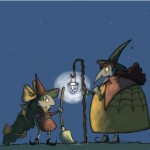 Witches, night, Halloween, young witch, Grandma, mentor, teacher, broom, flying, Lessons, first flight, and witch
