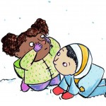 Snow, sneeze, Curiosity, toddler, Friends, little ones, winter, and cold