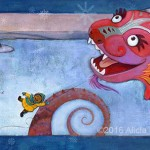 aerial landscape, winter, boy, chinese dragon, and kite
