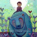 boy, Blue Bear, hearts, abstract, and Love