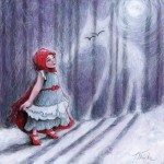Little Red Riding Hood, wolf, moon, night, Snow, little girl, and woods