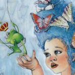 Princess, frog, Frog Princess, Butterflies, swing, little girl, and flowers