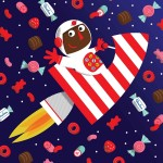 nursery rhyme, nursery song, candy, astronaut, outer space, and rocket