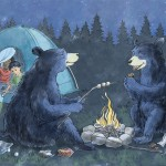 camping, Bears, black bears, Tent, campfire, and Unexpected
