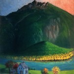 mountains, Children's Nature Picture Book, illustration for picture book, Canada, children in nature, Fall, and evening