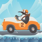 Penguin, Antarctica, auto racing, and Animal cartoon illustrations