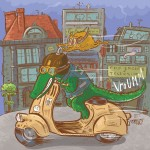 crocodile, scooter, cat, and city