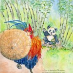 giant panda, panda bears, roosters, happy chinese new year, and China