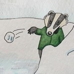 kids in snow, snowball fight, fox, and badger