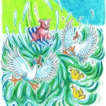Flying Pig, pig character study, pig, duck, ducklings, and splash