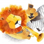 Music, trumpets, orchestra, lion, and Mouse