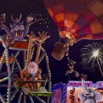 animals, carnival, fair, festival, At Night, fireworks, giraffe, hippo, and elephant