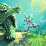 Aesop fable, The Tortoise and the Hare, kidlitart, and humorous