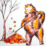 bear, fall, autumn, autumn leaves, and animals