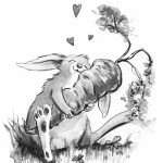 adorable animal, rabbit, and black and white illustration