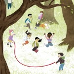 Children playing, jumprope, Troll, and forest