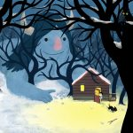 Troll, At Night, forest, A boy and his dog, and log cabin