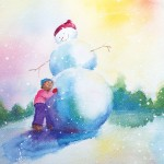 watercolor illustration, kids in snow, and building snowman