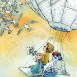 birds in flight, birds, hot air ballon, children, Action Adventure, Adventure, flying away, flying birds, and Air Travel