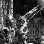 historical, astronomy, telescope, Father and Daughter, night time, Full Moon, Renaissance, black and white illustration, black and white, and ink