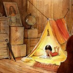 child reading, Blanket Fort, attic, and cozy