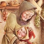 Little Red Riding Hood, red riding hood, medieval, historical, traditional Illustration, Fairytale illustration, fairytale, Grandma and Little Red, and Grandmother