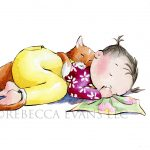 little girl and cat and sleeping
