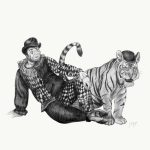 Circus themed, Tiger, clown, charcoal, and pastel