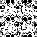 skulls, repeat pattern, black and white, and surface design