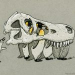 trex, dinosaur, t-rex, Penguins, paleontology, and Bones