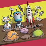 book cover, toys, Robot, spaceship, and #cat