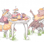 Cute Pigs and Children's Tea Party