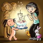 friends, asian girl, Bunny, squirrel, Happy Birthday, and birthday cake