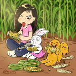 asian girl, corn, Bunny, squirrel, and eating