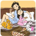 Mom and Daughter, Bunny, squirrels, pizza, and happy