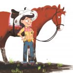 a picture book and cowgirl