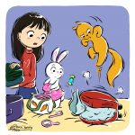 asian girl, squirrel, Bunny, Family Travel, and suitcase