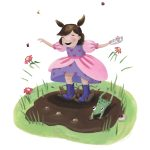 little princess, Mud, toddler, frog, pink, puddle splashing, and outdoors
