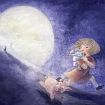 Full Moon,   girl heroes, running away, Cute Pigs, and adorable elephant