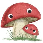 mushroom,  character development, Gardening, and a picture book